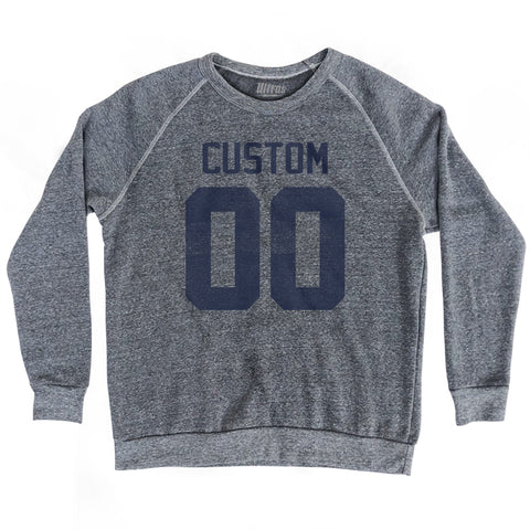Custom Name and Number Crewneck Adult Tri-Blend Sweatshirt