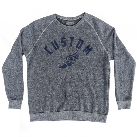 Custom Track Running Wings Crewneck Adult Tri-Blend Sweatshirt
