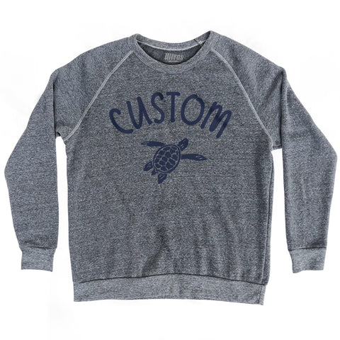 Custom Turtle Crewneck Adult Tri-Blend Sweatshirt