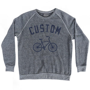 Custom Vintage Bicycle Bike Crewneck Adult Tri-Blend Sweatshirt