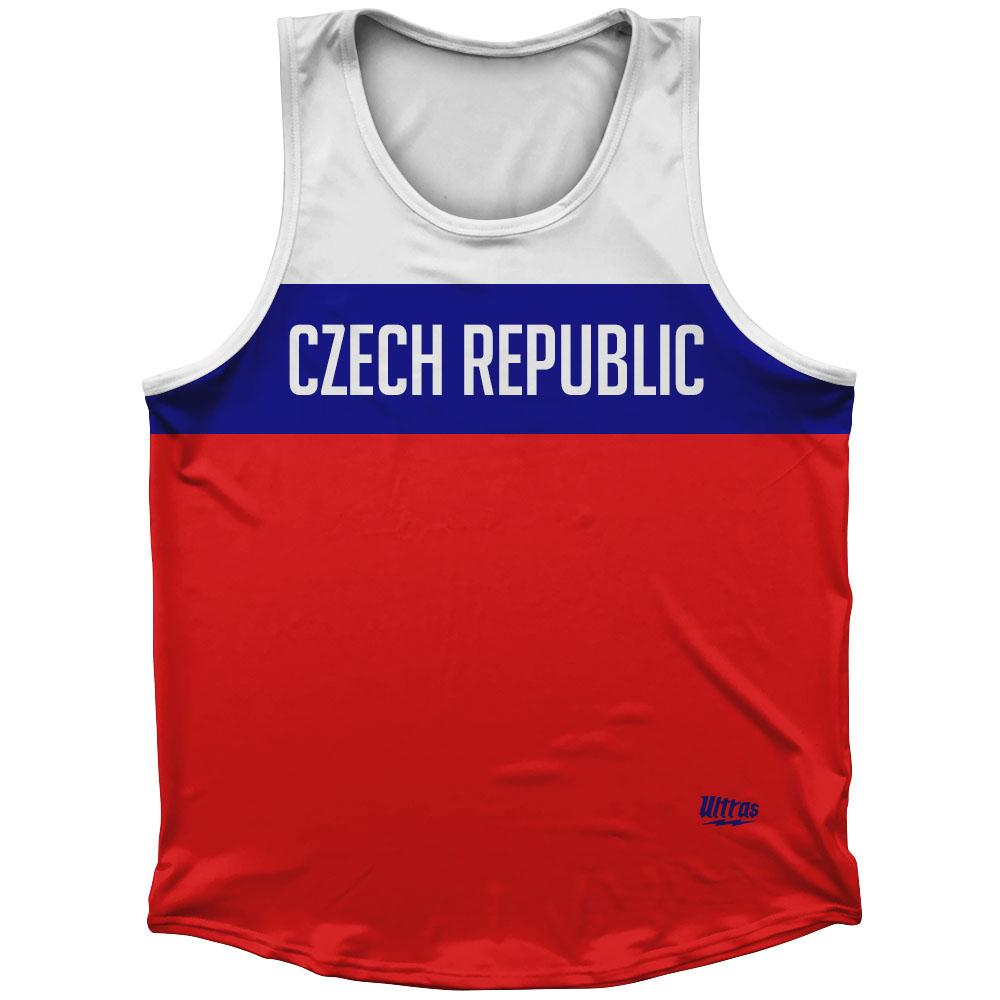 Czech Republic Country Finish Line Athletic Sport Tank Top Made In USA