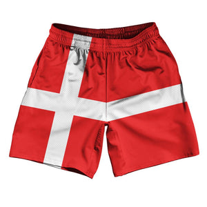 "Denmark Country Flag Athletic Running Fitness Exercise Shorts 7"" Inseam Made In USA By Ultras Sportswear"