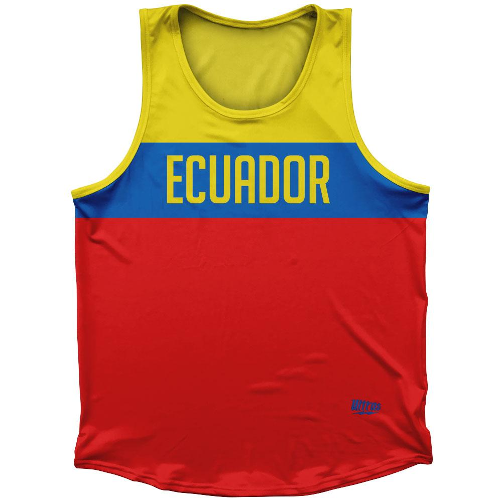 Ecuador Country Finish Line Athletic Sport Tank Top Made In USA