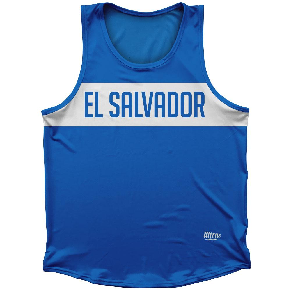El Salvador Country Finish Line Athletic Sport Tank Top Made In USA