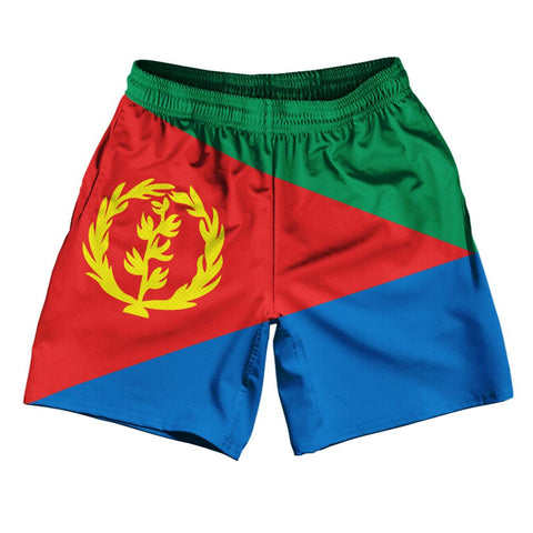 "Eritrea Country Flag Athletic Running Fitness Exercise Shorts 7"" Inseam Made In USA By Ultras Sportswear"