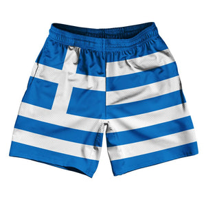"Greece Country Flag Athletic Running Fitness Exercise Shorts 7"" Inseam Made In USA By Ultras Sportswear"