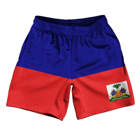 "Haiti Country Flag Athletic Running Fitness Exercise Shorts 7"" Inseam Made In USA By Ultras Sportswear"