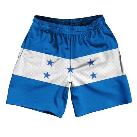 "Honduras Country Flag Athletic Running Fitness Exercise Shorts 7"" Inseam Made In USA By Ultras Sportswear"