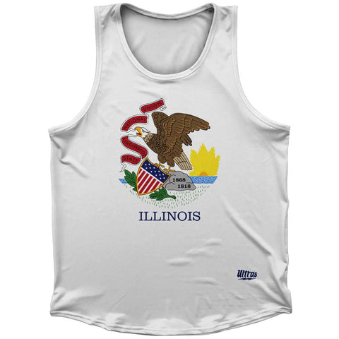 Illinois State Flag Athletic Sport Tank Top Made In USA by Ultras