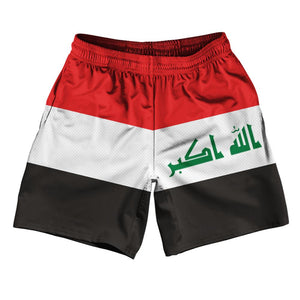 "Iraq Country Flag Athletic Running Fitness Exercise Shorts 7"" Inseam Made In USA By Ultras Sportswear"