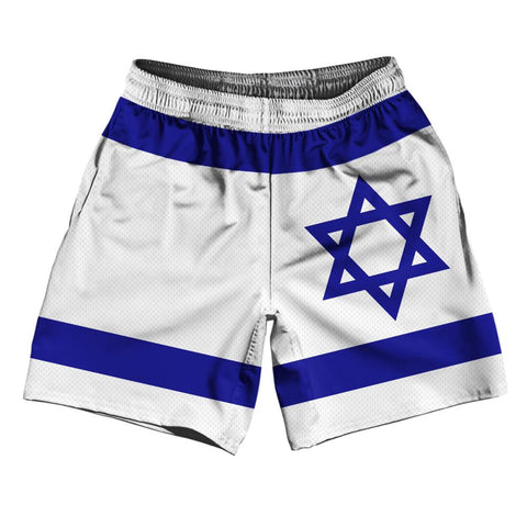 "Israel Country Flag Athletic Running Fitness Exercise Shorts 7"" Inseam Made In USA By Ultras Sportswear"