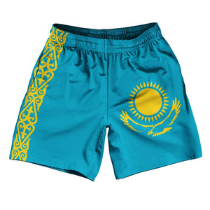 "Kazakhstan Country Flag Athletic Running Fitness Exercise Shorts 7"" Inseam Made In USA By Ultras Sportswear"
