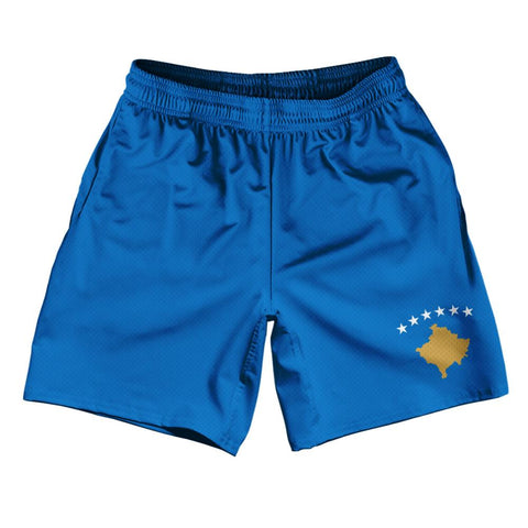 "Kosovo Country Flag Athletic Running Fitness Exercise Shorts 7"" Inseam Made In USA By Ultras Sportswear"