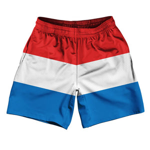 "Luxembourg Country Flag Athletic Running Fitness Exercise Shorts 7"" Inseam Made In USA By Ultras Sportswear"