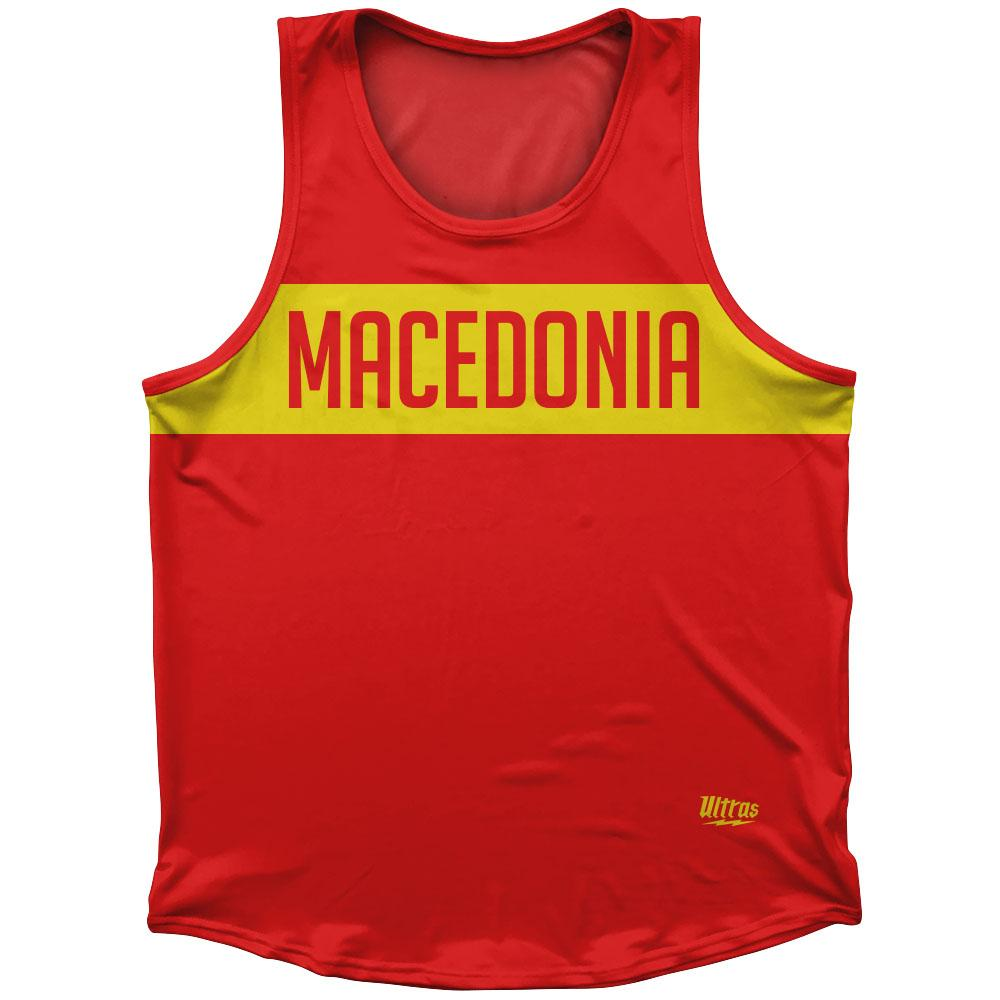 Macedonia Country Finish Line Athletic Sport Tank Top Made In USA by Ultras