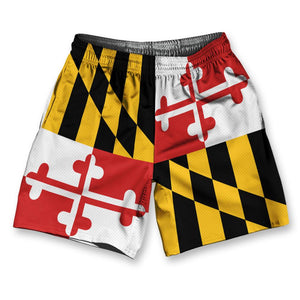 "Maryland State Flag Athletic Running Fitness Exercise Shorts 7"" Inseam by Ultras Sportswear"