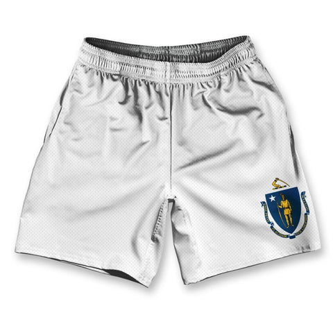 "Massachusetts State Flag Athletic Running Fitness Exercise Shorts 7"" Inseam by Ultras Sportswear"