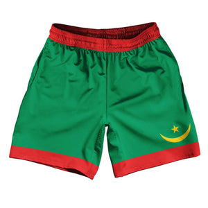 "Mauritania Country Flag Athletic Running Fitness Exercise Shorts 7"" Inseam Made In USA By Ultras Sportswear"