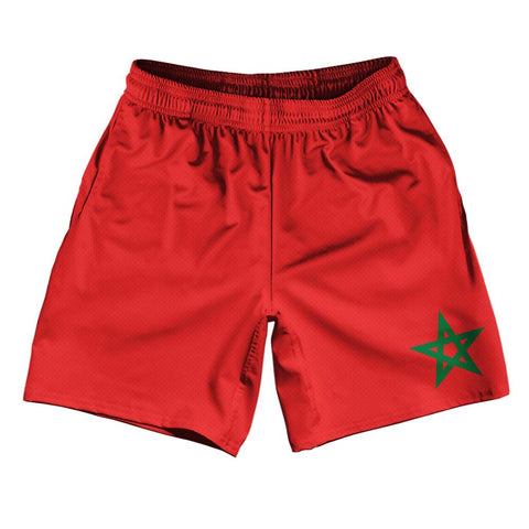 "Morocco Country Flag Athletic Running Fitness Exercise Shorts 7"" Inseam Made In USA By Ultras Sportswear"