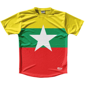 Myanmar Country Flag Running Shirt Track Cross Country Performance Top Made in USA