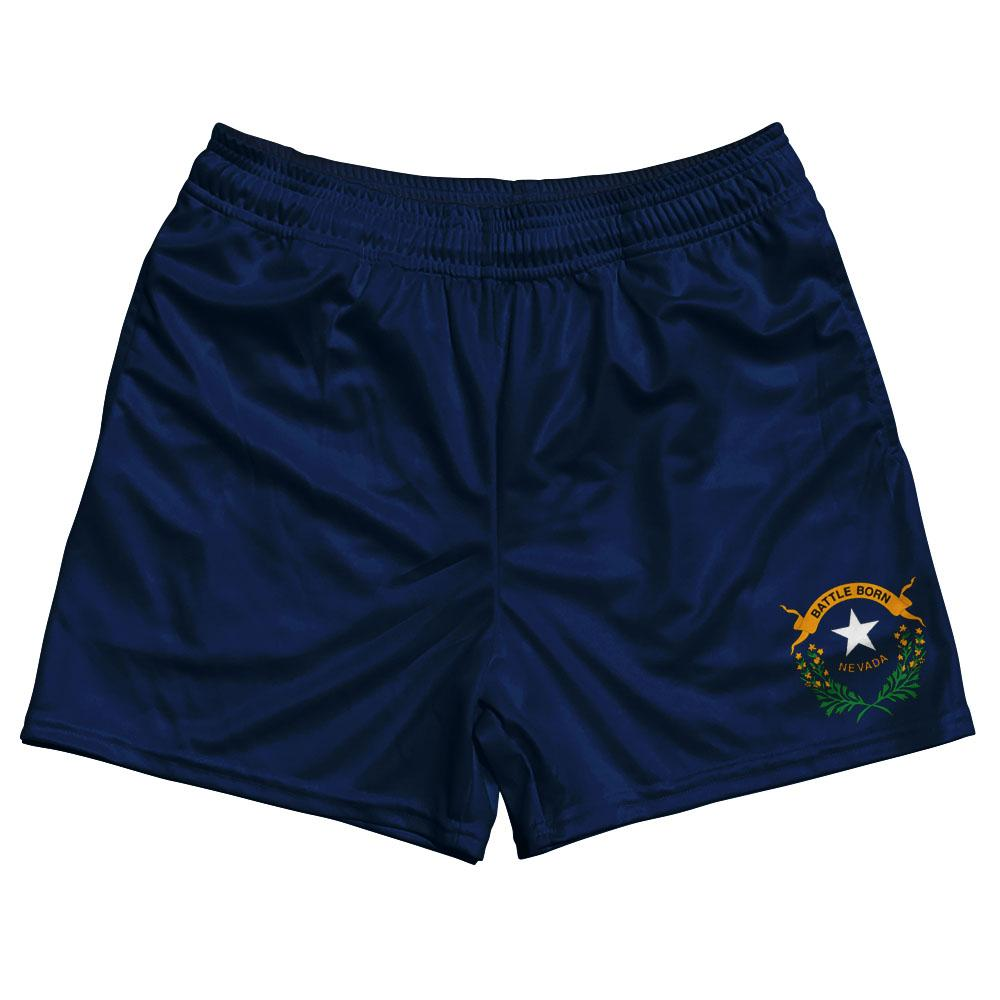 Nevada State Flag Rugby Shorts Made In USA by Ruckus