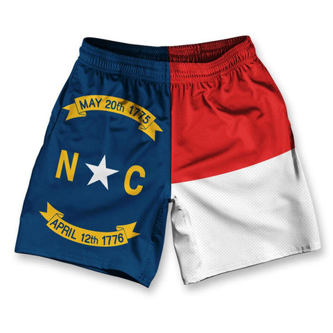 "North Carolina State Flag Athletic Running Fitness Exercise Shorts 7"" Inseam by Ultras Sportswear"