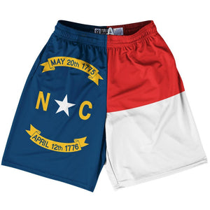 "North Carolina State Flag 9"" Inseam Lacrosse Shorts by Tribe Lacrosse"