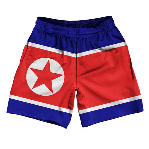 "North Korea Country Flag Athletic Running Fitness Exercise Shorts 7"" Inseam Made In USA By Ultras Sportswear"