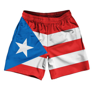 "Puerto Rico Country Flag Athletic Running Fitness Exercise Shorts 7"" Inseam Made In USA By Ultras Sportswear"