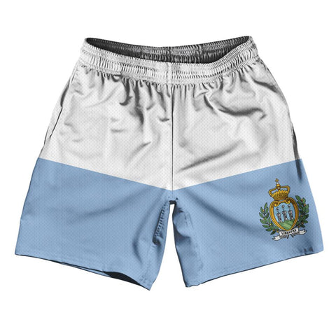 "San Marino Country Flag Athletic Running Fitness Exercise Shorts 7"" Inseam Made In USA By Ultras Sportswear"
