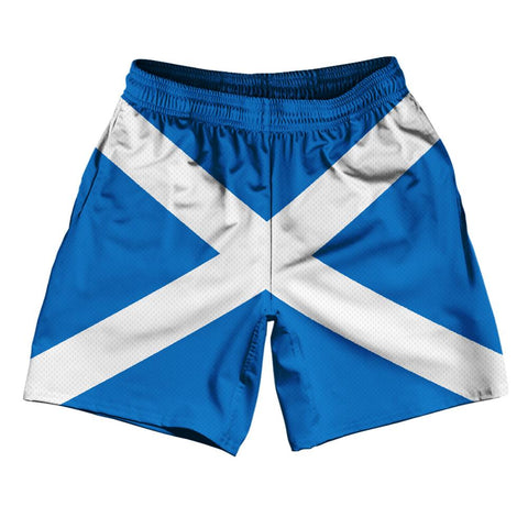 "Scotland Country Flag Athletic Running Fitness Exercise Shorts 7"" Inseam Made In USA By Ultras Sportswear"