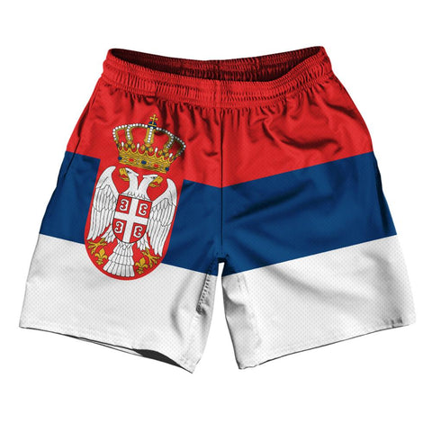 "Serbia Country Flag Athletic Running Fitness Exercise Shorts 7"" Inseam Made In USA By Ultras Sportswear"