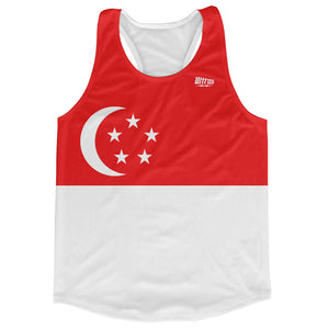 Singapore Country Flag Running Tank Top Racerback Track and Cross Country Singlet Jersey