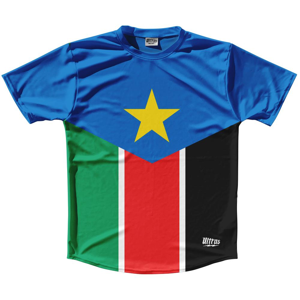 South Sudan Country Flag Running Shirt Track Cross Country Performance Top Made In USA
