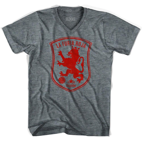 Spain Espana La Furia Roja Soccer Adult Tri-Blend V-neck Soccer T-shirt by Ultras