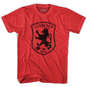 Spain Espana La Furia Roja Soccer Adult Tri-Blend Soccer T-shirt by Ultras