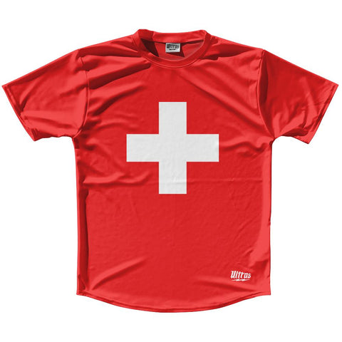 Switzerland Country Flag Running Shirt Track Cross Country Performance Top Made In USA by Ultras