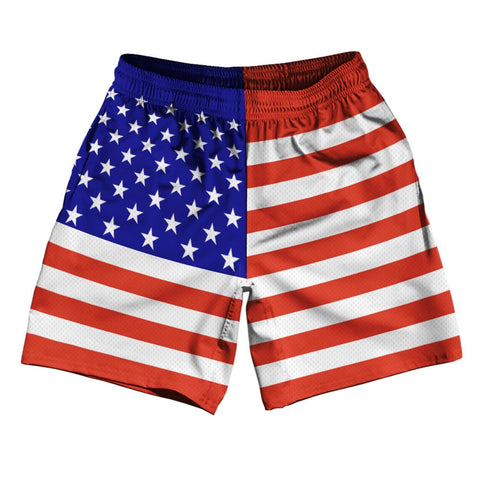 "United States Country Flag Athletic Running Fitness Exercise Shorts 7"" Inseam Made In USA by Ultras Sportswear"