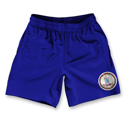 "Virginia State Flag Athletic Running Fitness Exercise Shorts 7"" Inseam by Ultras Sportswear"