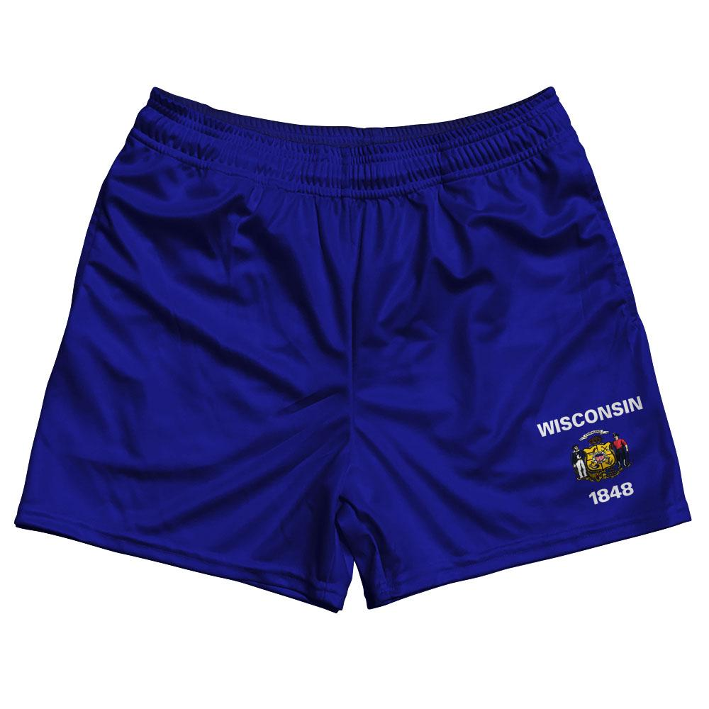 Wisconsin State Flag Rugby Shorts Made In USA by Ruckus