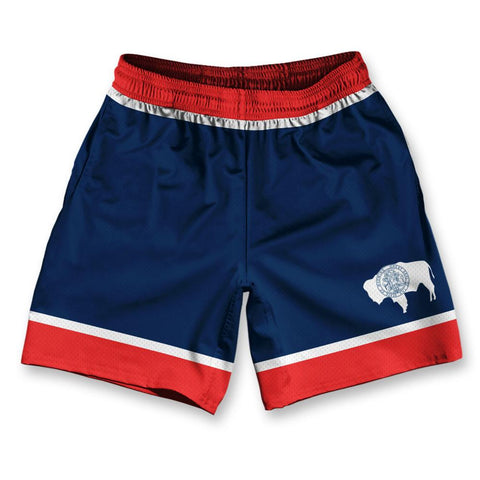 "Wyoming State Flag Athletic Running Fitness Exercise Shorts 7"" Inseam by Ultras Sportswear"