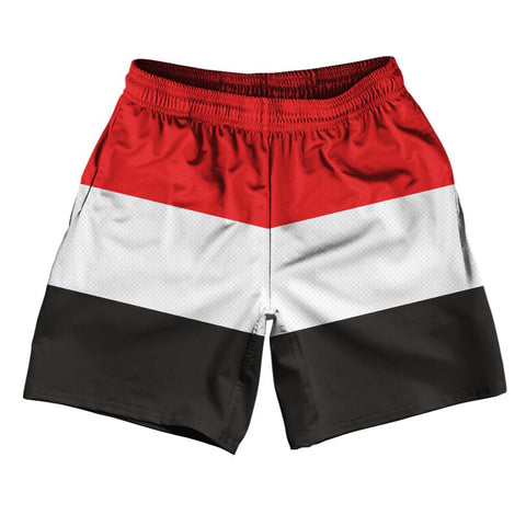 "Yemen Country Flag Athletic Running Fitness Exercise Shorts 7"" Inseam Made In USA by Ultras Sportswear"