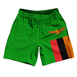 "Zambia Country Flag Athletic Running Fitness Exercise Shorts 7"" Inseam Made In USA by Ultras Sportswear"