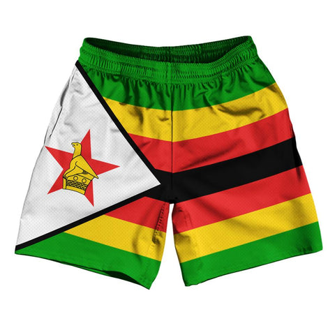 "Zimbabwe Country Flag Athletic Running Fitness Exercise Shorts 7"" Inseam Made In USA by Ultras Sportswear"