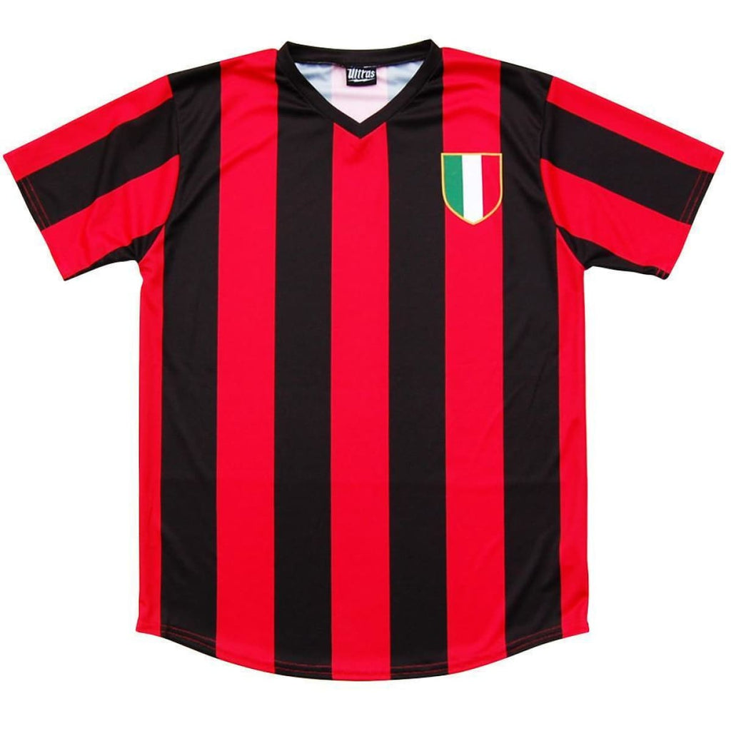 AC Milan Retro #10 Soccer Jersey - Red and Black / Adult Small / No - Ultras City Soccer Jerseys