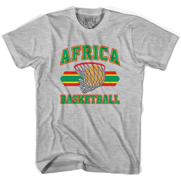 Africa Basketball 90s Basketball T-shirt - Grey Heather / Youth X-Small - Basketball T-shirt