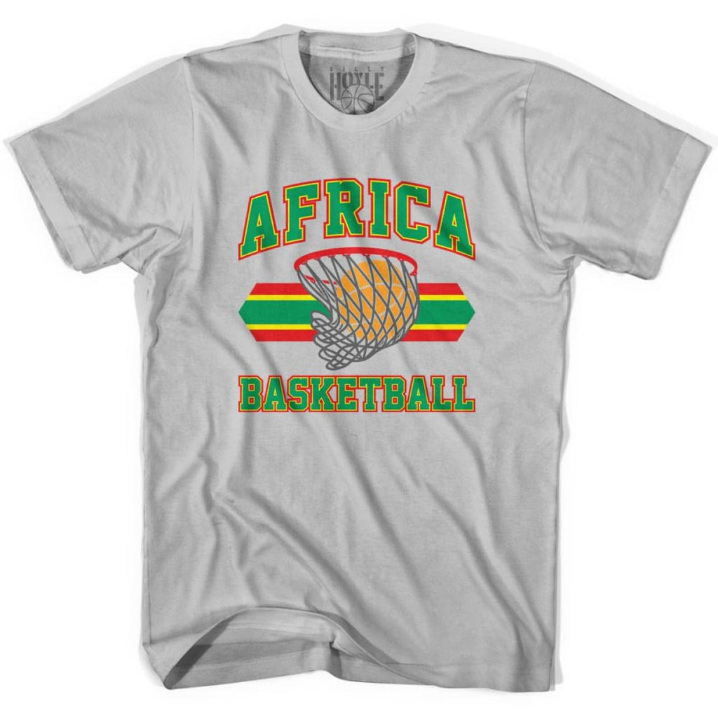 Africa Basketball 90s Basketball T-shirt - Silver / Youth X-Small - Basketball T-shirt