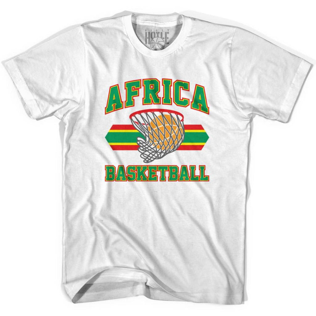 Africa Basketball 90s Basketball T-shirt - White / Youth X-Small - Basketball T-shirt