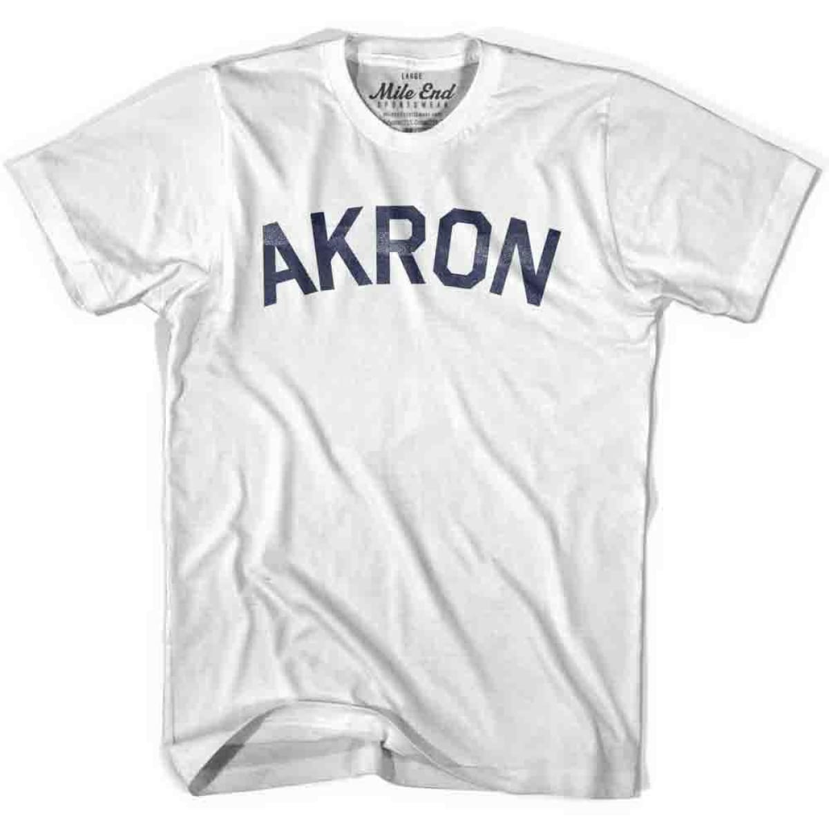 Akron City Vintage T-shirt - White / Youth X-Small - Mile End City