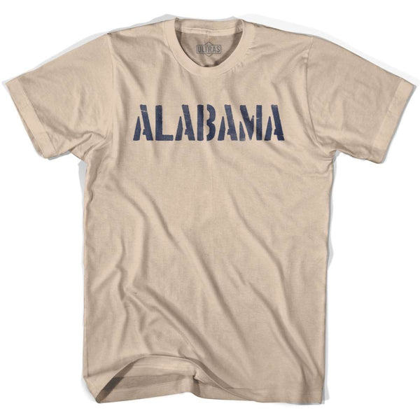 Alabama State Stencil Adult Cotton T-shirt - Creme / Adult Small - Stencil State